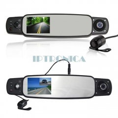 3.0inch TFT HD IR Night Vision Car DVR Rear View Mirror with 3 Cameras and GPS and G-Sensor